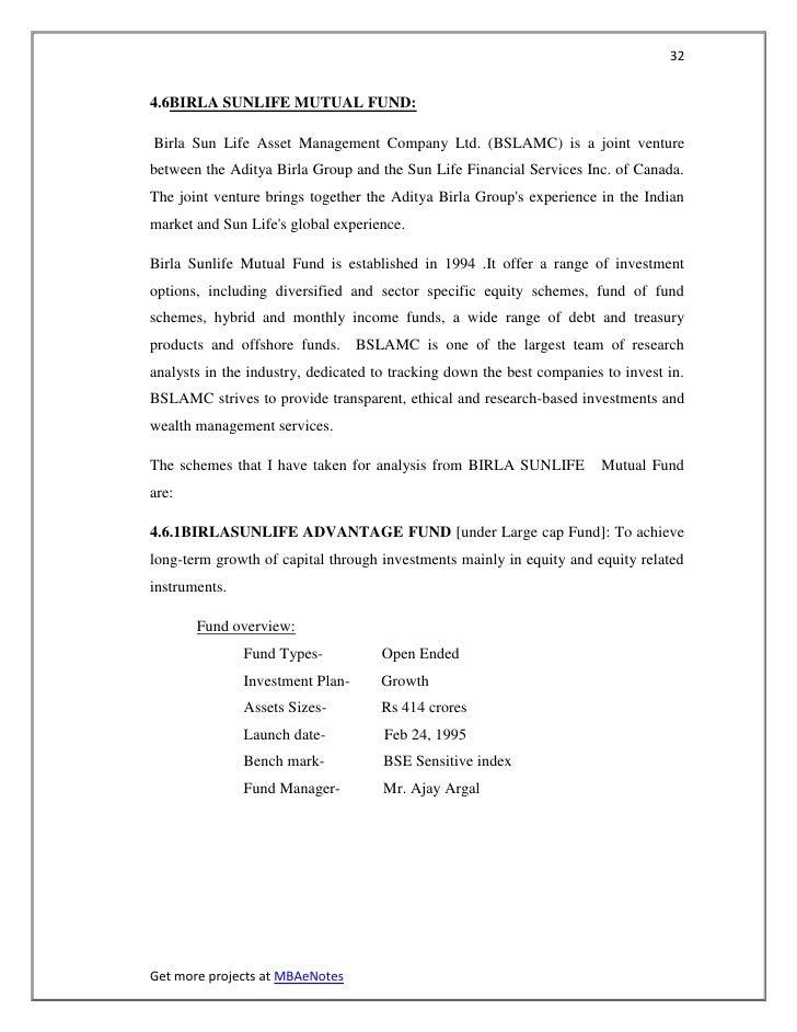 324.6BIRLA SUNLIFE MUTUAL FUND:Birla Sun Life Asset Management Company Ltd. (BSLAMC) is a joint venturebetween the Aditya ...