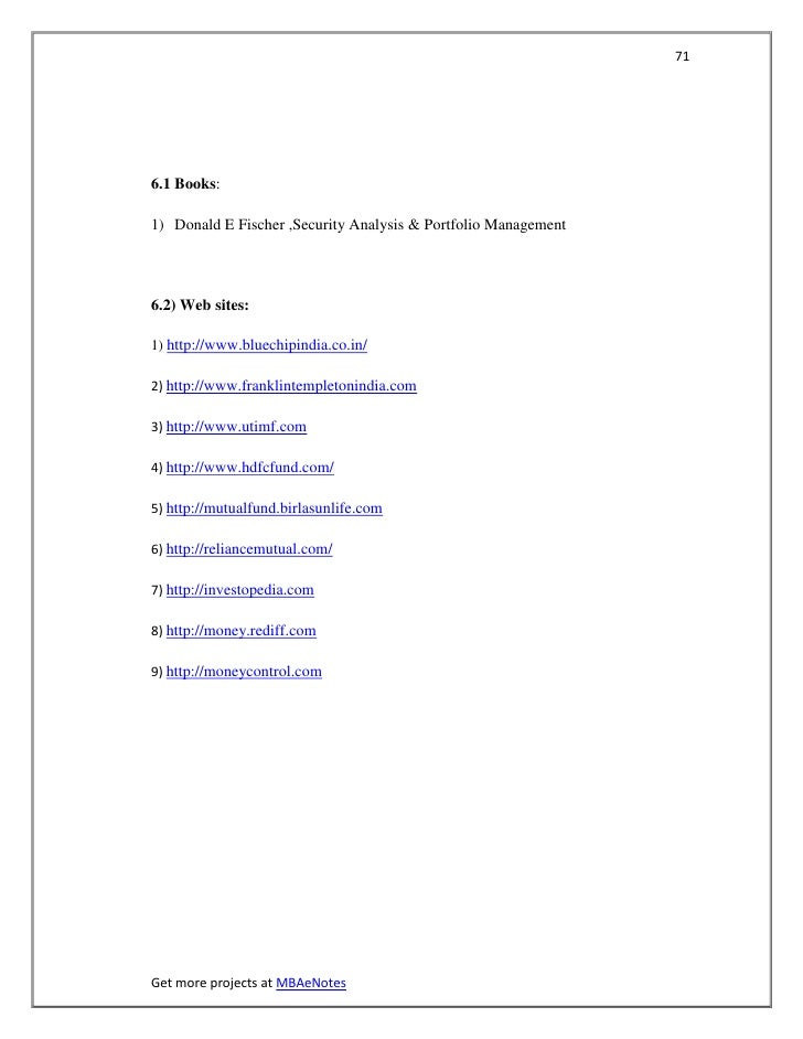 716.1 Books:1) Donald E Fischer ,Security Analysis & Portfolio Management6.2) Web sites:1) http://www.bluechipindia.co.in/...