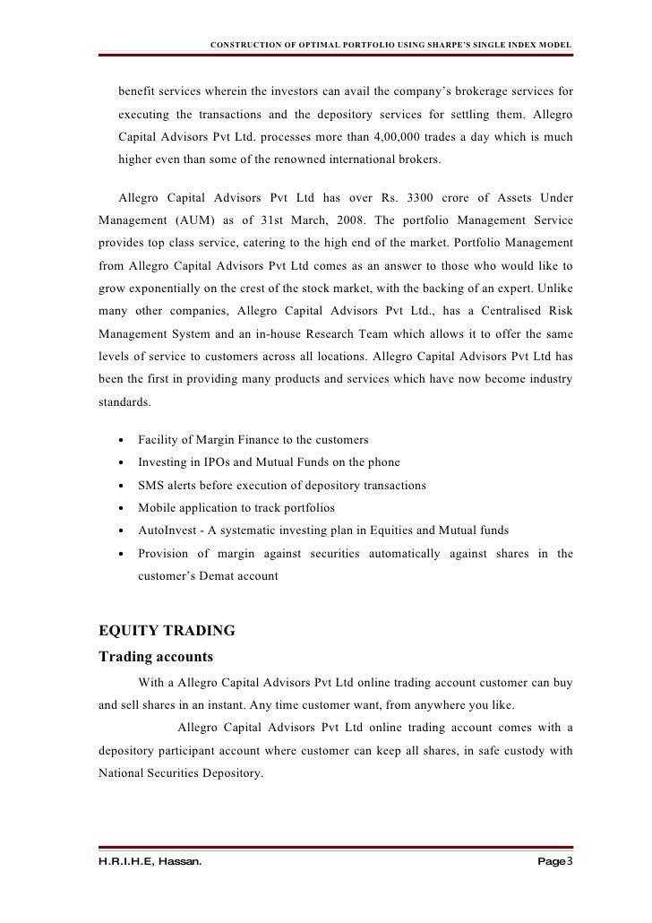 Single index model portfolio construction