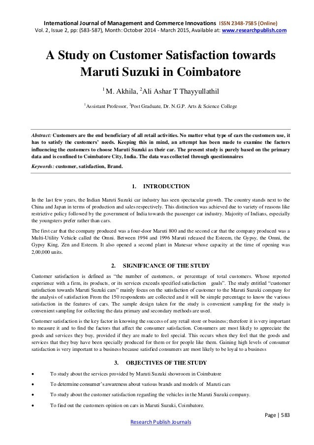 maruti suzuki customer satisfaction project report Project report on maruti suzuki home project report on maruti suzuki author: f 3 downloads 46 views 756kb size report download pdf recommend documents customer satisfaction toward maruti suzuki it is a good project it is highly recommended.