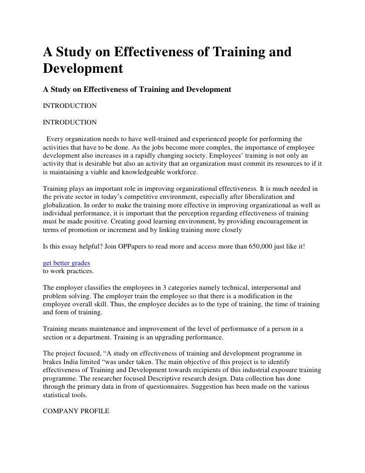 Case Study on Training and Development