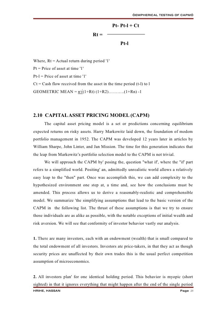 Markowitz and capital asset pricing Essay
