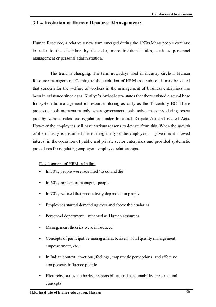 Report on Employee Absenteeism