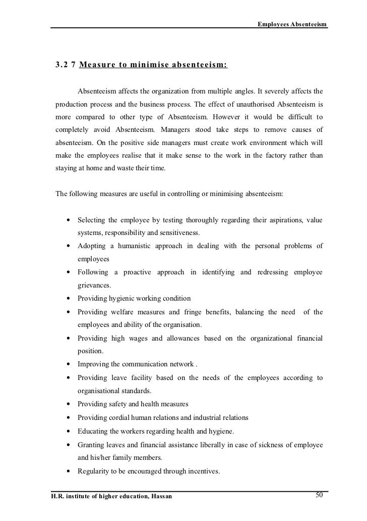 thesis on employee absenteeism