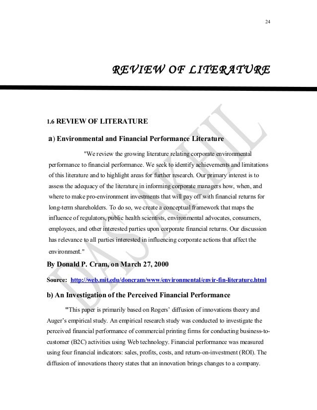review of literature of financial performance A literature review of corporate governance  the main focus of his literature was to find out the  might be the negative cause to financial performance.