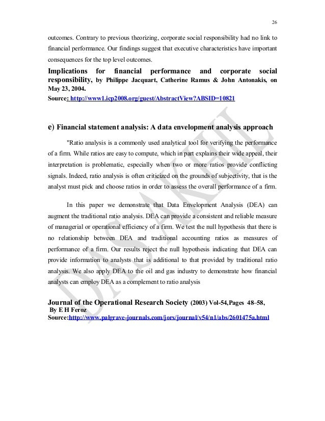 review of literature of financial performance Literature review is a study involving a collection of literatures in the selected area of research in which the scholar has limited experience in the past, various studies relating to the financial.