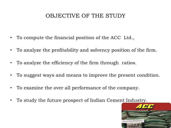 organisation study of acc cement A study on effectiveness of training and development in cement industry wwwijbmiorg 91 | page.