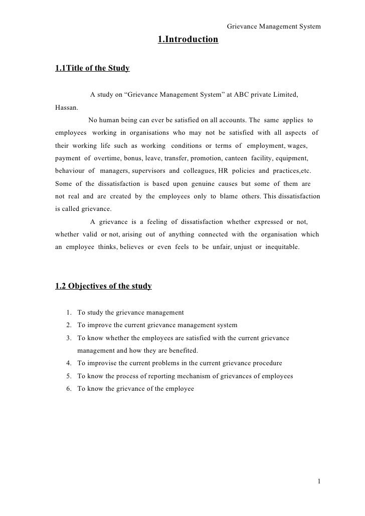 A study on grievance management system conducted at abc pvt ltd grievance management system 1 thecheapjerseys Image collections