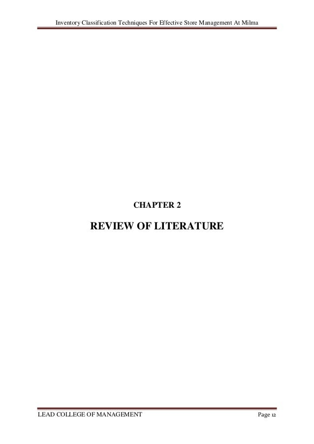 literature review on inventory management techniques Role of inventory management on  the role of inventory management in enhancing performance of manufacturing firms in kenya with reference to new kcc literature review.