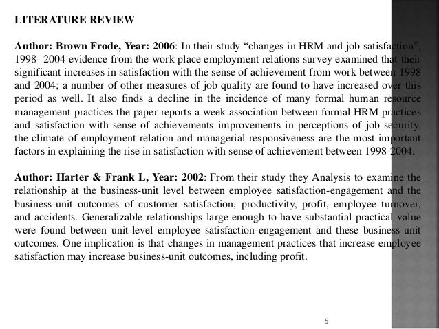 Review of literature for job satisfaction of employees
