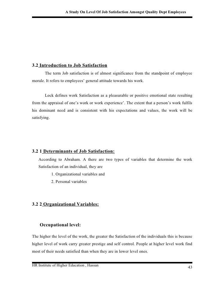 A Study on Job Satisfaction Level on Employee's Performance at JUPEM Negeri Sembilan Essay