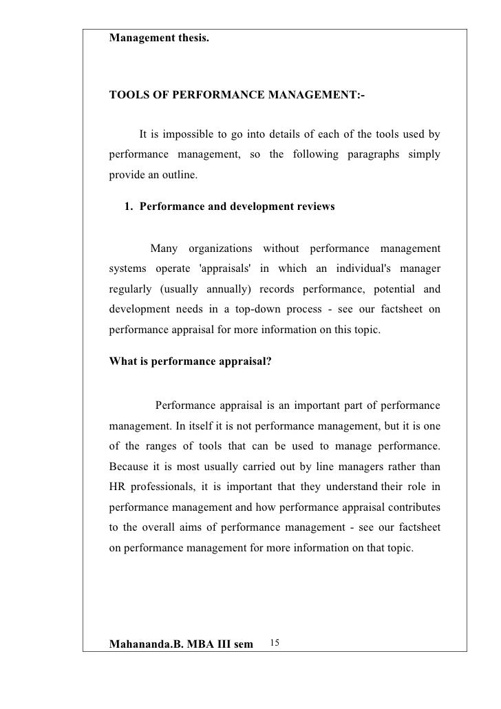 developing a performance appraisal system essay