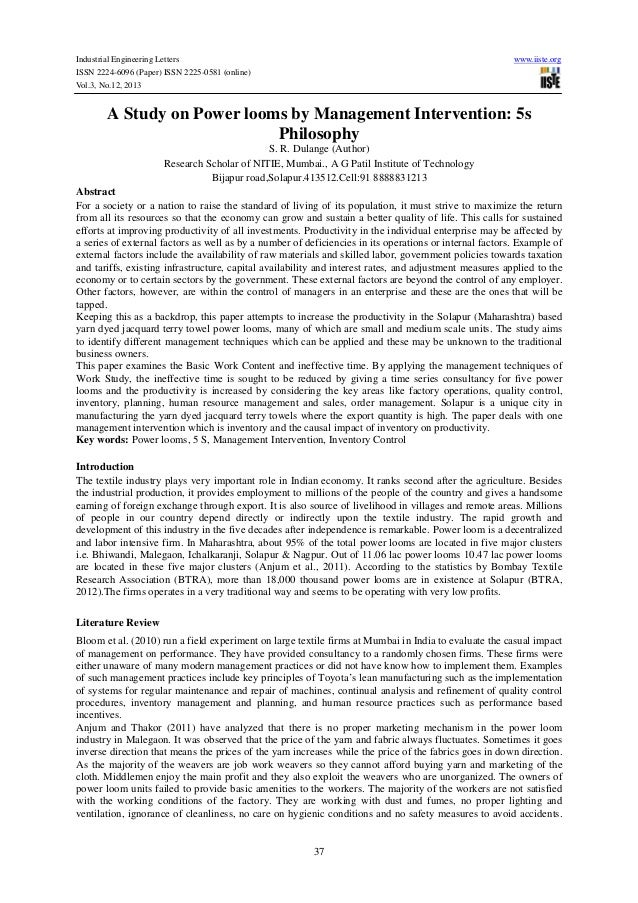 Industrial Engineering Letters ISSN 2224-6096 (Paper) ISSN 2225-0581 (online) Vol.3, No.12, 2013  www.iiste.org  A Study o...