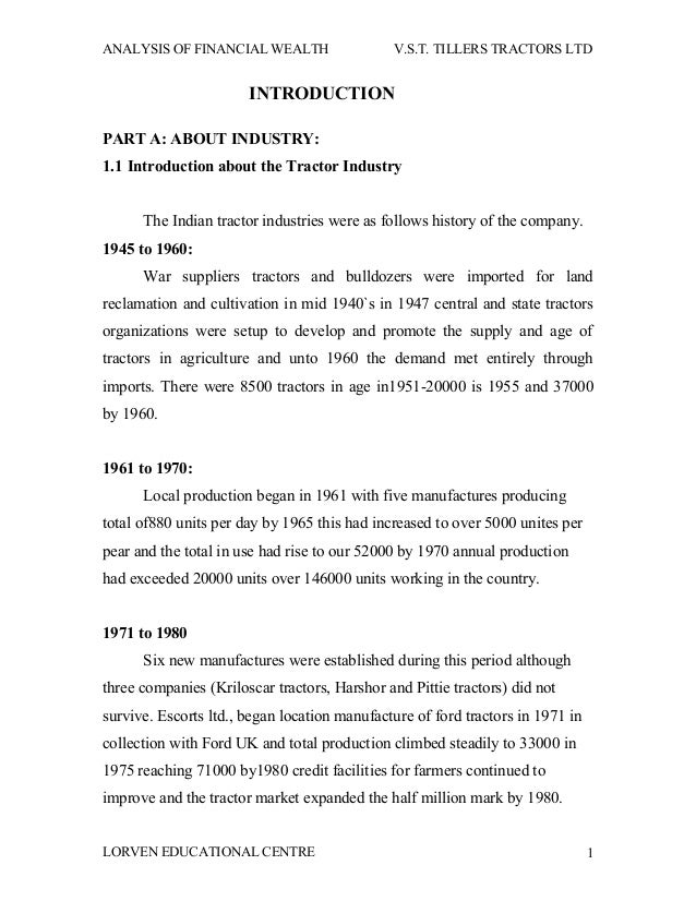 ANALYSIS OF FINANCIAL WEALTH                  V.S.T. TILLERS TRACTORS LTD                       INTRODUCTIONPART A: ABOUT ...