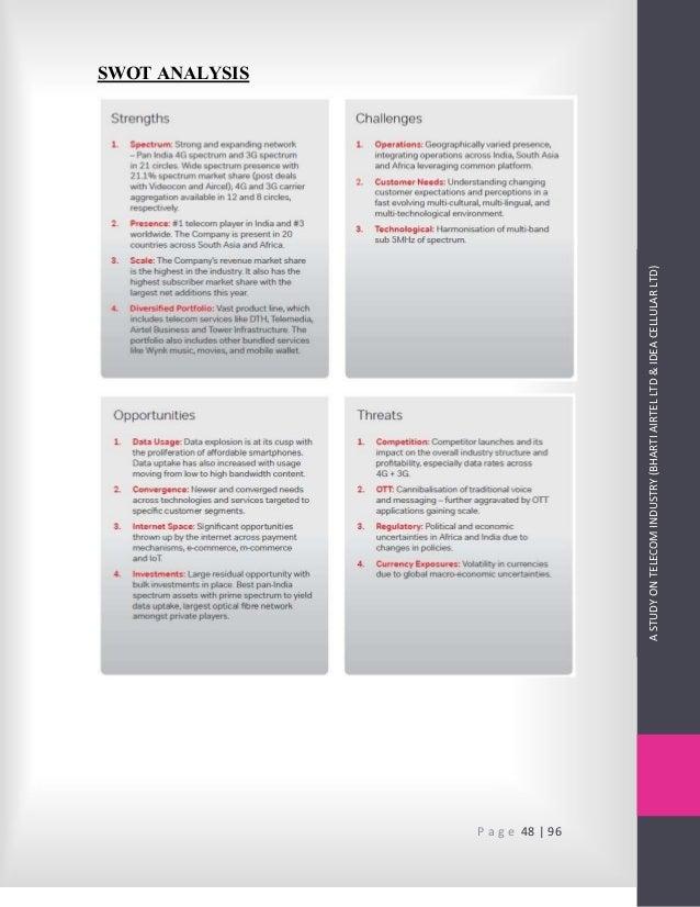 A Study on TeleIndustry (Bharti Airtel Ltd & Idea Cellular Ltd)