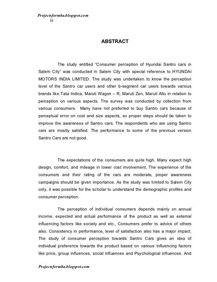A study on the consumer perception of hyundai santro cars in salem city Slide 3