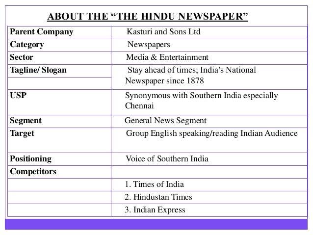 A study on the hindu newspaper