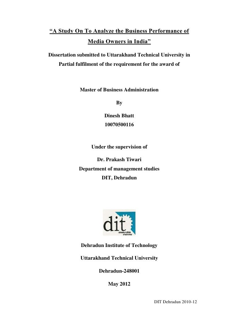 """""""A Study On To Analyze the Business Performance of                Media Owners in India""""Dissertation submitted to Uttarakh..."""