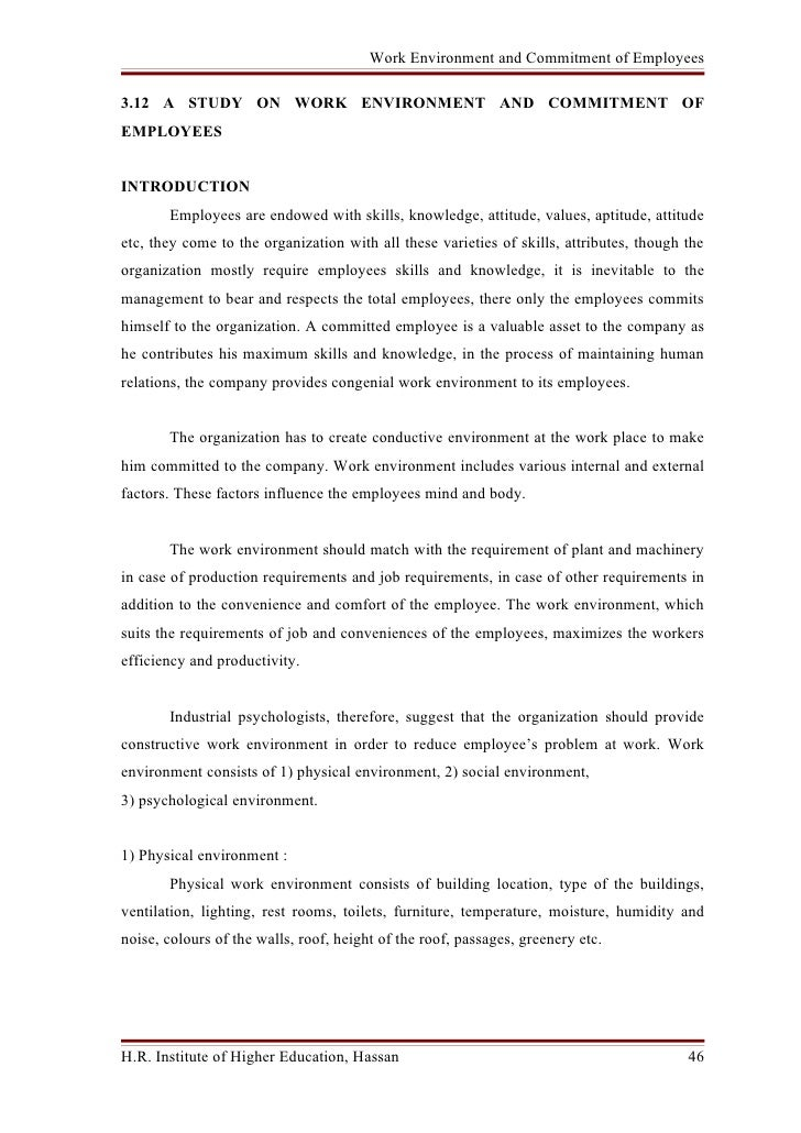 A Study On Work Environment And Commitment Of Employees