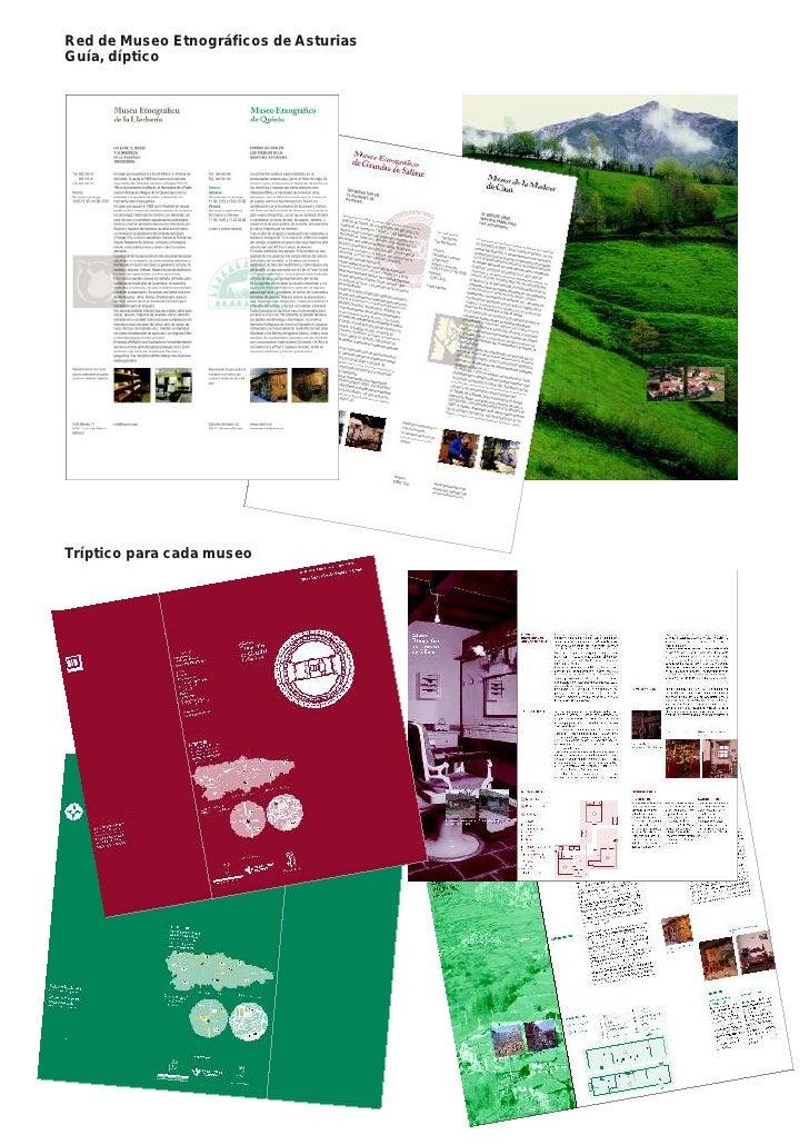 Red de Museo Etnográficos de Asturias Guía, díptico     Tríptico para cada museo