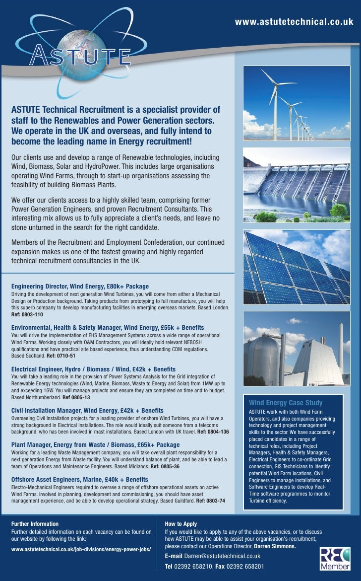 www.astutetechnical.co.uk     ASTUTE Technical Recruitment is a specialist provider of staff to the Renewables and Power G...