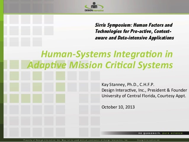 Sirris Symposium: Human Factors and Technologies for Pro-active, Contextaware and Data-intensive Applications  Human-‐Sys...