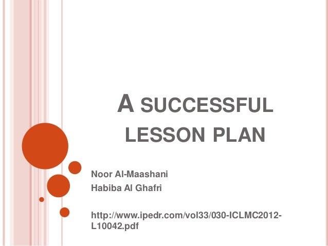 a successful lesson plan