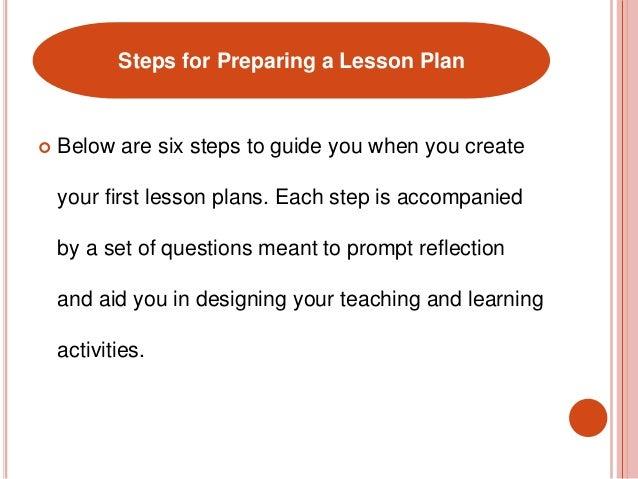 A successful lesson plan – Six Step Lesson Plan