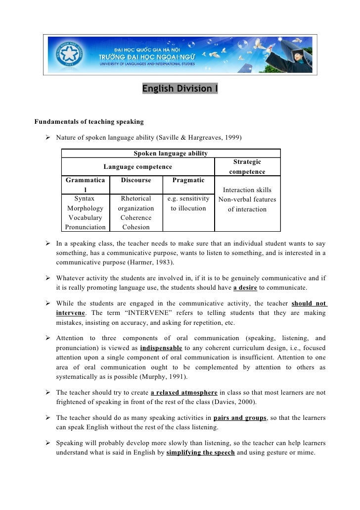English Division I   Fundamentals of teaching speaking      Nature of spoken language ability (Saville & Hargreaves, 1999...