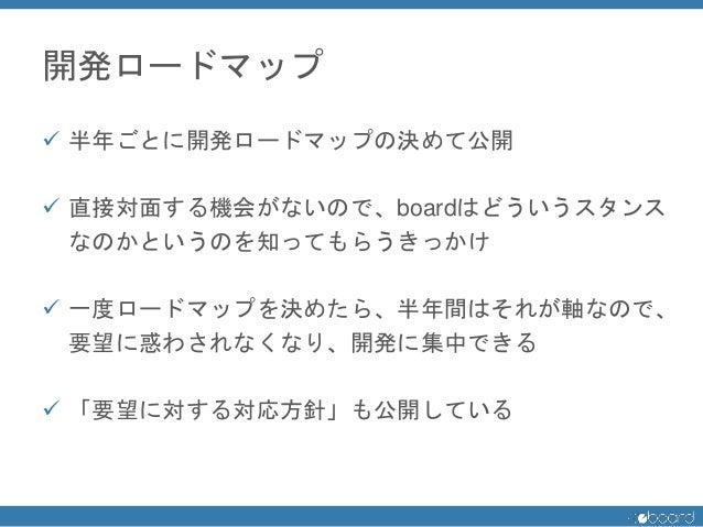 開発ロードマップ  半年ごとに開発ロードマップの決めて公開  直接対面する機会がないので、boardはどういうスタンス なのかというのを知ってもらうきっかけ  一度ロードマップを決めたら、半年間はそれが軸なので、 要望に惑わされなくなり、...
