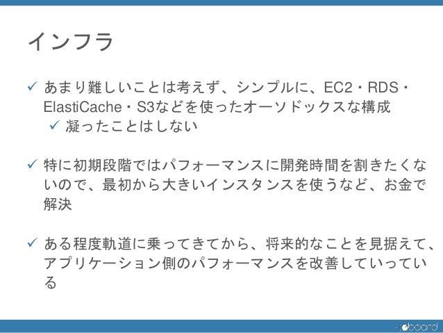 インフラ  あまり難しいことは考えず、シンプルに、EC2・RDS・ ElastiCache・S3などを使ったオーソドックスな構成  凝ったことはしない  特に初期段階ではパフォーマンスに開発時間を割きたくな いので、最初から大きいインスタ...