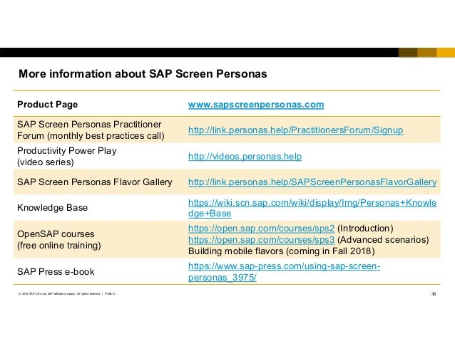SAPPHIRE NOW 2018 ASUG 11652 SAP Screen Personas as part of