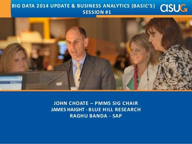JOHN CHOATE – PMMS SIG CHAIR JAMES HAIGHT - BLUE HILL RESEARCH RAGHU BANDA - SAP BIG DATA 2014 UPDATE & BUSINESS ANALYTICS...