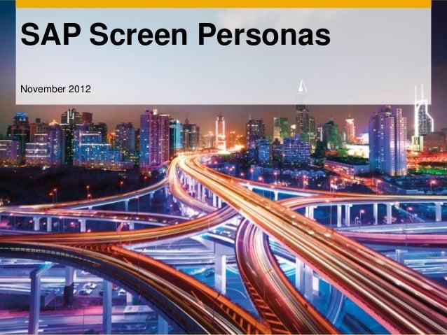 SAP Screen PersonasNovember 2012