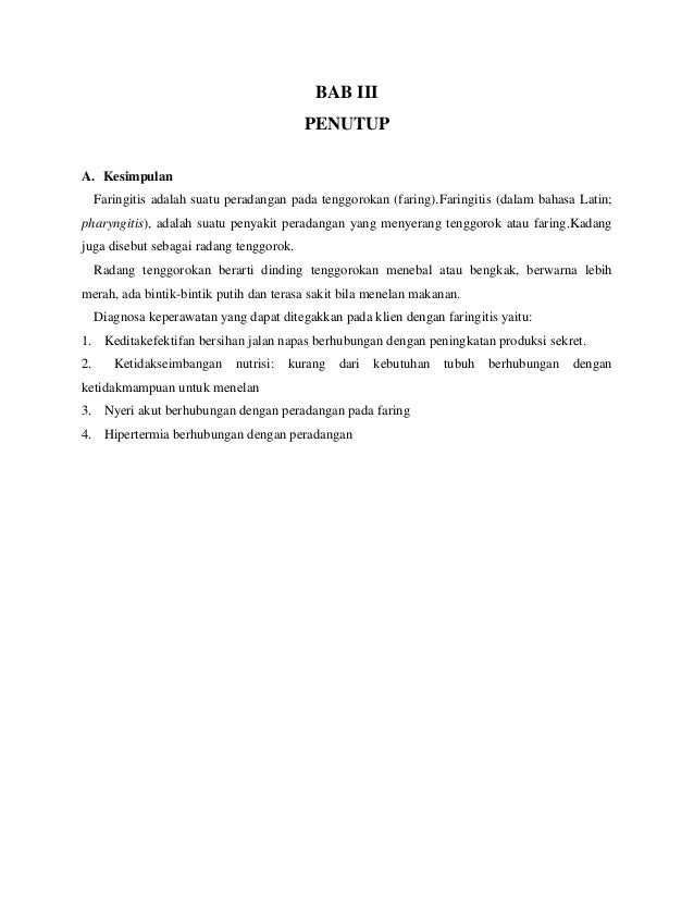 Asuhan Keperawatan Klien Dengan Faringitis Shinttttta
