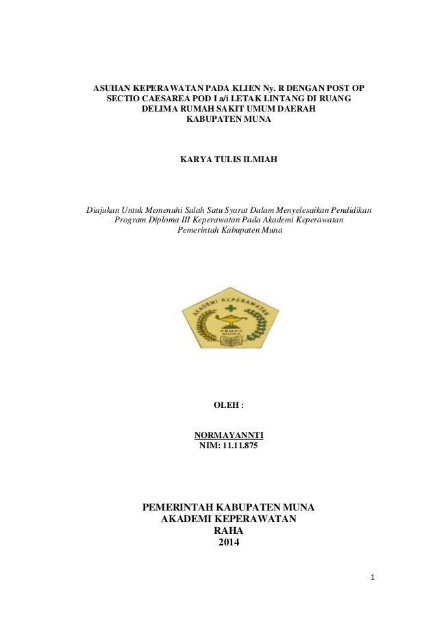 Asuhan Keperawatan Pada Klien Ny R Dengan Post Op Sectio Caesarea