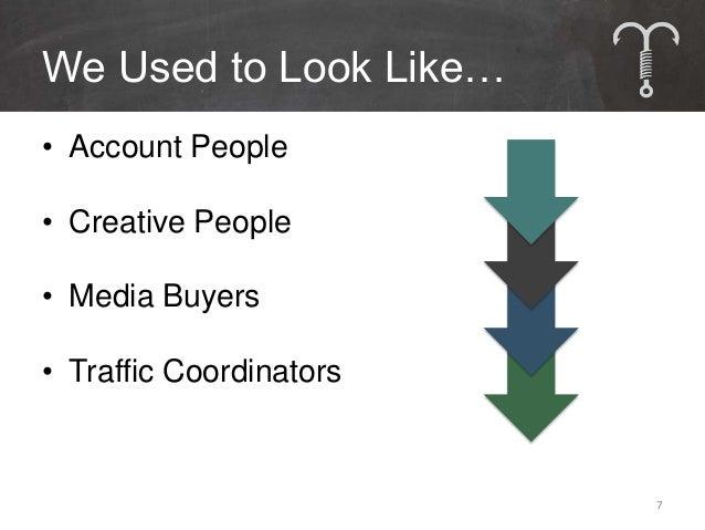 We Used to Look Like…• Account People• Creative People• Media Buyers• Traffic Coordinators                         7