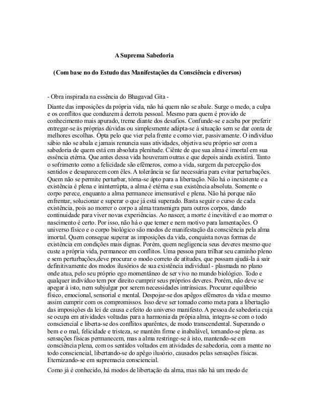 A Suprema Sabedoria  (Com base no do Estudo das Manifestações da Consciência e diversos)- Obra inspirada na essência do Bh...