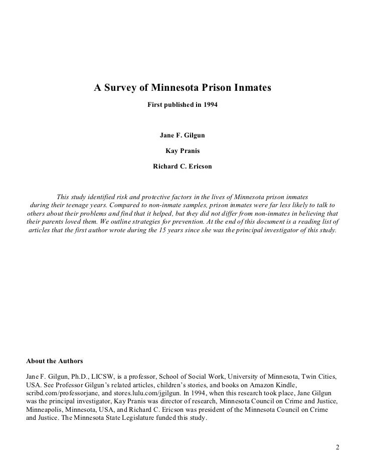 A Survey of Minnesota Prison Inmates                                           First published in 1994                    ...