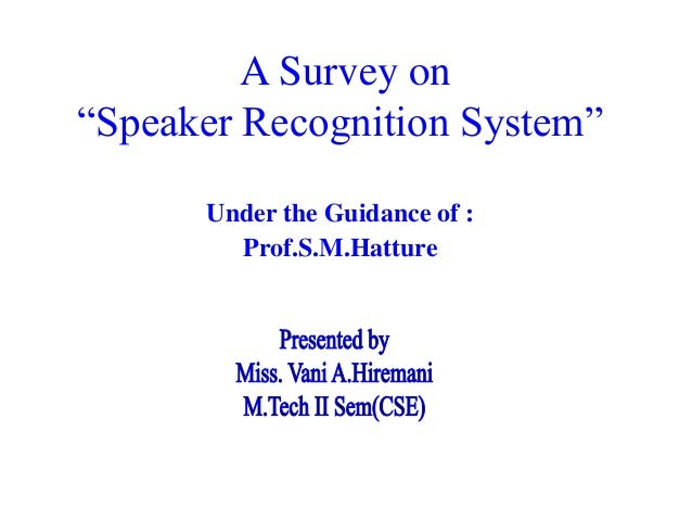 Speaker recognition master thesis