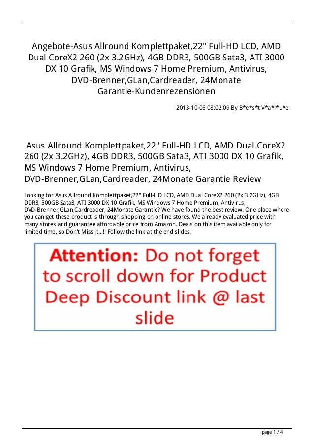 """Angebote-Asus Allround Komplettpaket,22"""" Full-HD LCD, AMD Dual CoreX2 260 (2x 3.2GHz), 4GB DDR3, 500GB Sata3, ATI 3000 DX ..."""