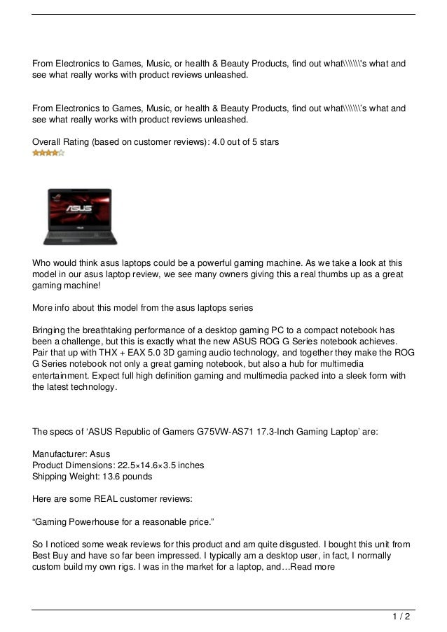 asus laptop review: a Gamers Laptop