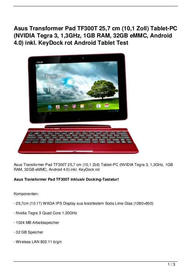 asus transformer pad tf300t 25 7 cm 10 1 zoll tablet pc nvidia teg. Black Bedroom Furniture Sets. Home Design Ideas