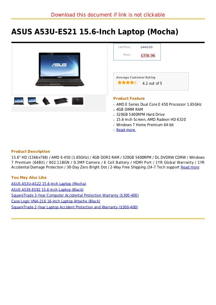 Download this document if link is not clickableASUS A53U-ES21 15.6-Inch Laptop (Mocha)                                    ...
