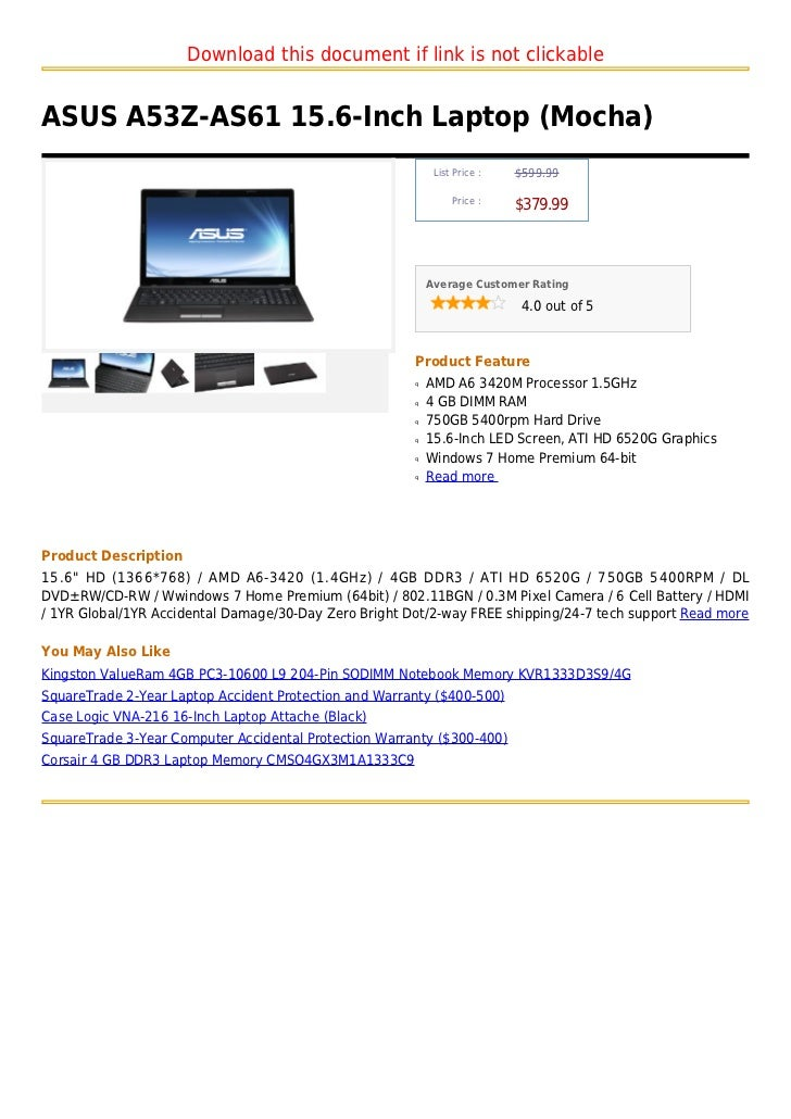 Download this document if link is not clickableASUS A53Z-AS61 15.6-Inch Laptop (Mocha)                                    ...