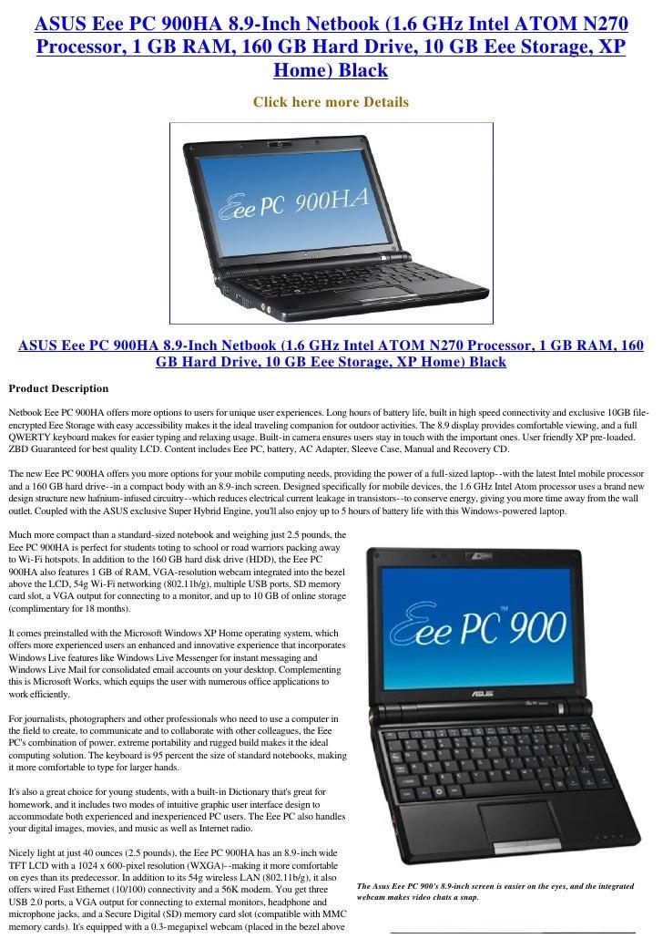 NEW DRIVERS: ASUS EEE PC 900HA NETBOOK