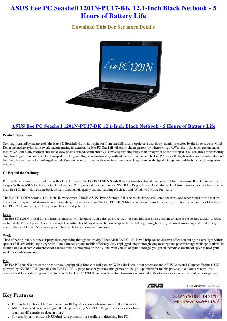 DRIVERS: ASUS EEE PC 1201NL NOTEBOOK NVIDIA VGA