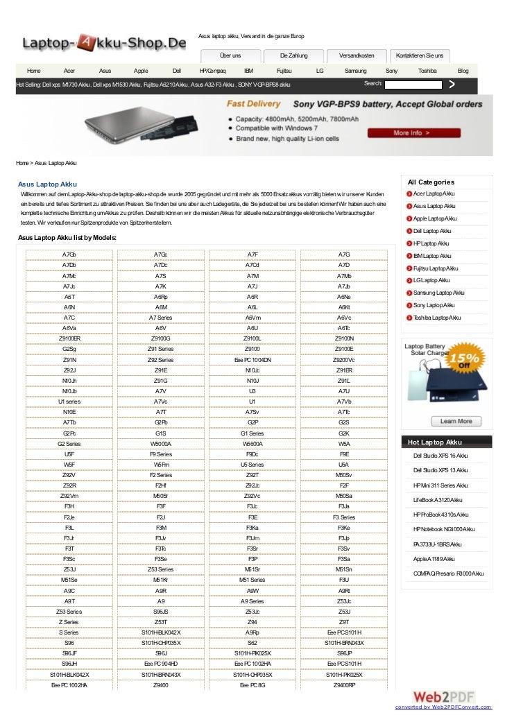 Asus laptop akku, Versand in die ganze Europ                                                                              ...