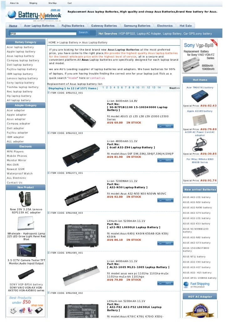 About Us          Shipping    Site Map       Cart                                               Replacement Asus laptop Ba...