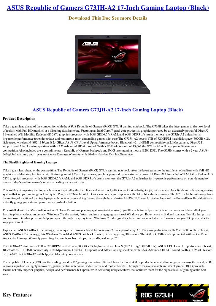 ASUS Republic of Gamers G73JH-A2 17-Inch Gaming Laptop (Black)                                                       Downl...